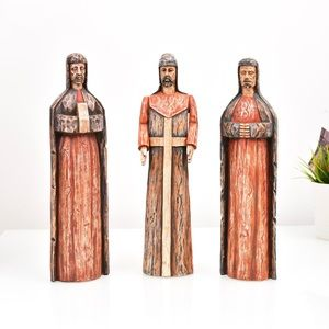 3 Three Wise Men Wooden Multicolor Holiday Figures